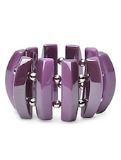Purple Acrylic Beaded Bracelet With Stretchable Loop Closure - By