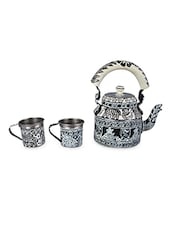Black And White Painted Tea Set - By