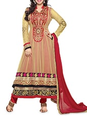 Beige And Red Embroidered Layered Anarkali Suit Set - By