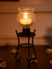 Black Wrought Iron Candle Stand - By