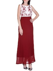 red embroidered georgette maxi dress -  online shopping for Dresses