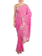 Pink Faux Chiffon  Embroidered Saree - By