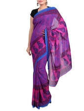 Purple Faux Georgette Printed Saree - By