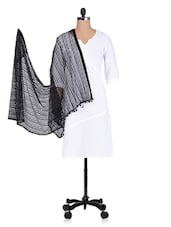 Black Plain Pom Pom Net Dupatta - By