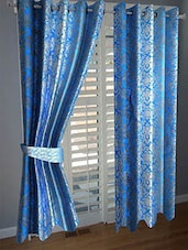 Divine Home Furnishing Blue Abstract Poleyester Window Curtain Set Of 2 - By