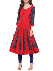 Red Rayon Anarkali Kurta - By
