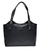 Solid Black Leatherette Handbag - By - 1251704