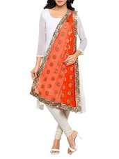 Orange Chiffon Banarasi Dupatta - By