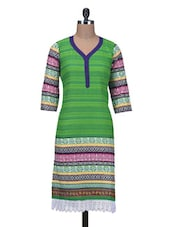 Green Cotton Printed Straight Kurta - By