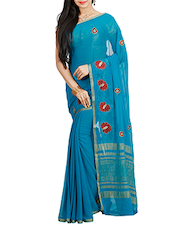 blue poly chiffon saree -  online shopping for Sarees