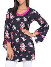 blue rayon floral straight kurti -  online shopping for kurtis