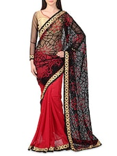 Black Net Georgette Embroidered Sari - By