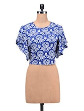 Blue Poly Crepe Printed Butterfly Arm Top - By