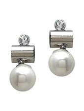 White Metallic Embellished Earrings - By