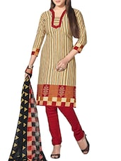 Beige Cotton straight semi-stitched suit -  online shopping for Semi-Stitched Suits