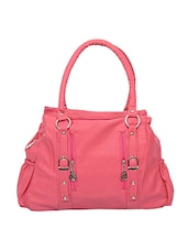 Pink leatherette handbag -  online shopping for handbags