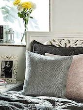Grey Cotton Cushion Cover - By
