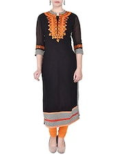 Black Rayon Straight Kurta - By