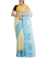 cream cotton taanth saree -  online shopping for Sarees