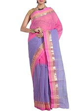 Blue colored taanth saree -  online shopping for Sarees