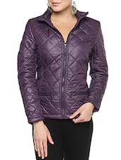 Purple Nylon Solid Long Sleeves Jacket - By
