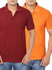maroon and orange cotton polo t-shirts (set of 2) -  online shopping for T-Shirts