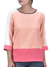 Pink Polycrepe Plain Block Top - By