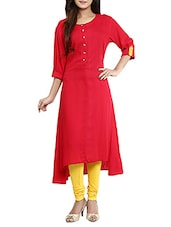 Red Rayon Asymmetric Kurta - By