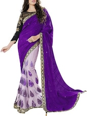 Half And Half Embellished Art Silk Saree - By