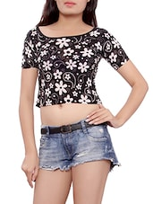 black floral cotton top -  online shopping for Tops