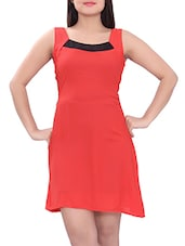 red cotton aline dress -  online shopping for Dresses