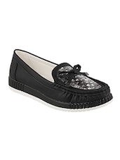 Black Faux Leather Slip On Moccasins - By