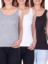 set of 3 multicolored cotton tank tees -  online shopping for Tees