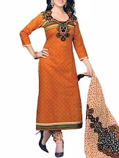 Orange Cotton Semi-Stitched Salwar Suit -  online shopping for Semi-Stitched Suits