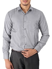 grey striped cotton formal shirt -  online shopping for formal shirts
