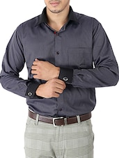 charcoal grey printed cotton formal shirt -  online shopping for formal shirts