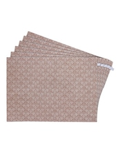Beige Printed Reversible Placemats For Dining Table - Unique Designs Both Sides - Set Of 6 - By