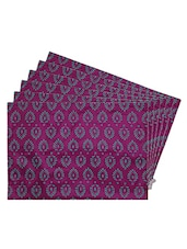 Pink Printed Reversible Placemats For Dining Table - Unique Designs Both Sides - Set Of 6 - By