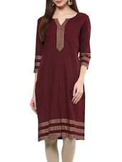 Maroon Cotton Straight Kurta - By