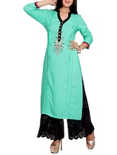 sea green rayon embroidered long kurta -  online shopping for kurtas