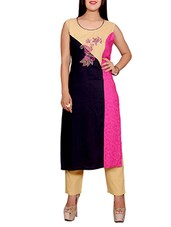 multi colored rayon embroidered long kurta -  online shopping for kurtas