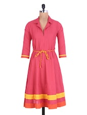Pink Cotton Kurti With Waist Belt - By