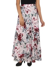 Light Pink Floral Printed Viscose Skirt - By