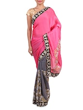Pink Satin Chiffon Embroidered Saree - By