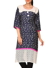Blue Printed Cotton Lycra Kurti - By