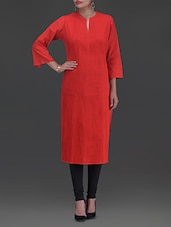 Solid Red Cotton Kurta - By