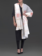 Cream And Orange Chanderi Silk Dupatta - By