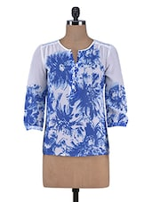 White And Indigo Blue Printed Polyester Top - By