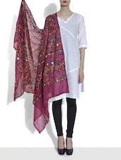 Magenta Embroidered Cotton Dupatta With Mirror Work - By - 1265240