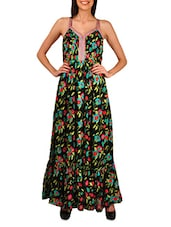Floral Embroidered Black Maxi Dress - By